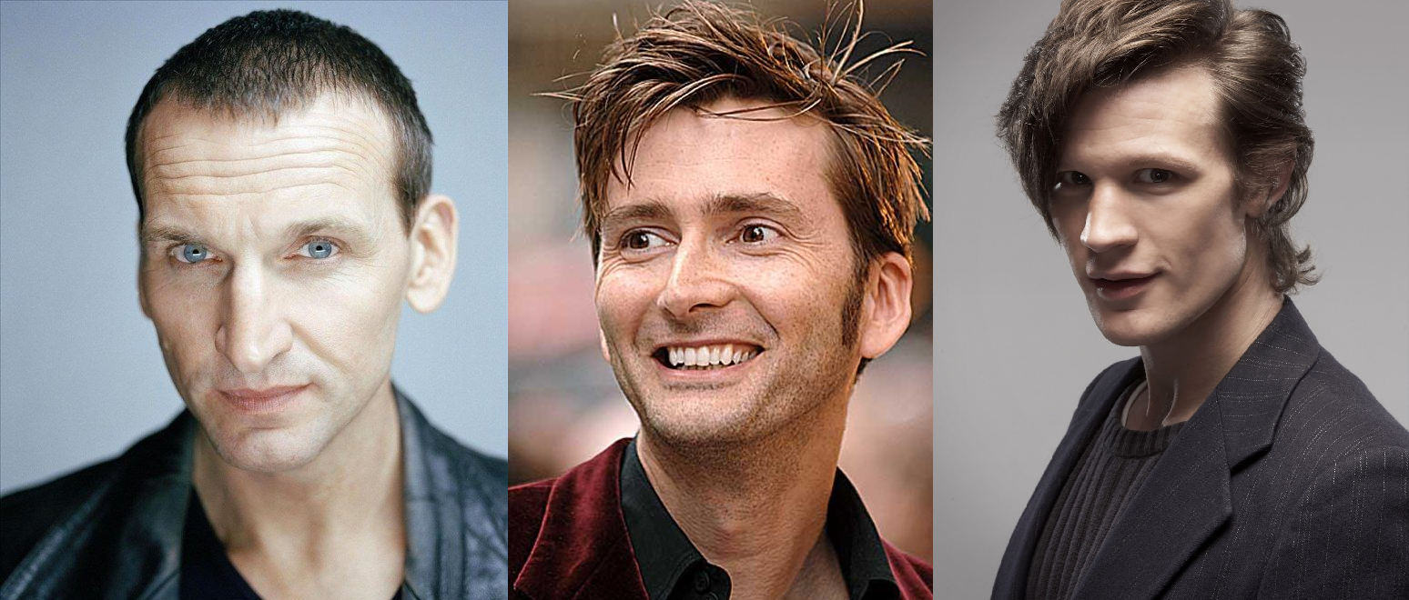From Left to Right: Christopher Eccleston, David Tennant, and Matt Smith